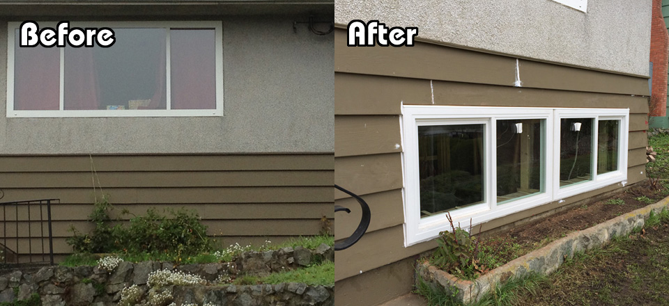 Before and After Basement Outside