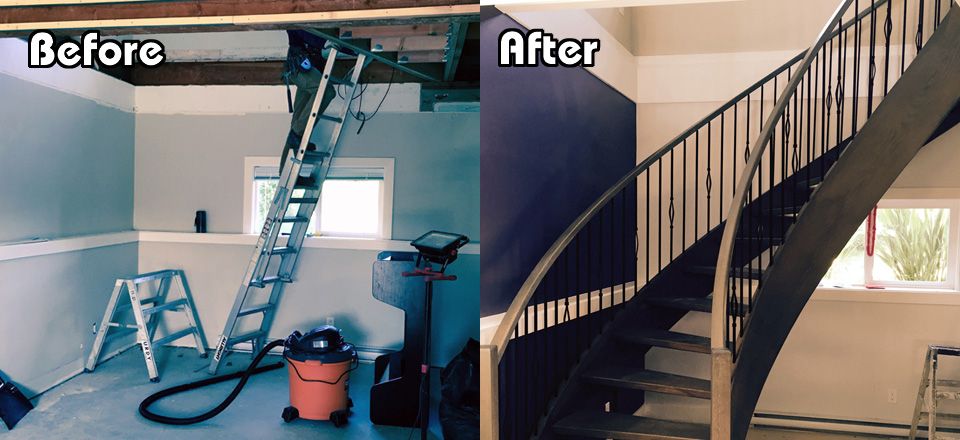 Before and After Curved Stairs